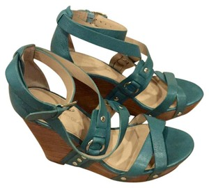 Via Spiga Leather Studded Teal Wedges