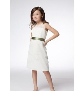 Watters Ivory with Sage Ribbon Tulle Net Flower Girl Dress