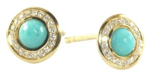 Ippolita Ippolita Earrings 18K Yellow Gold Turquoise Diamond Mini Small Stud Post