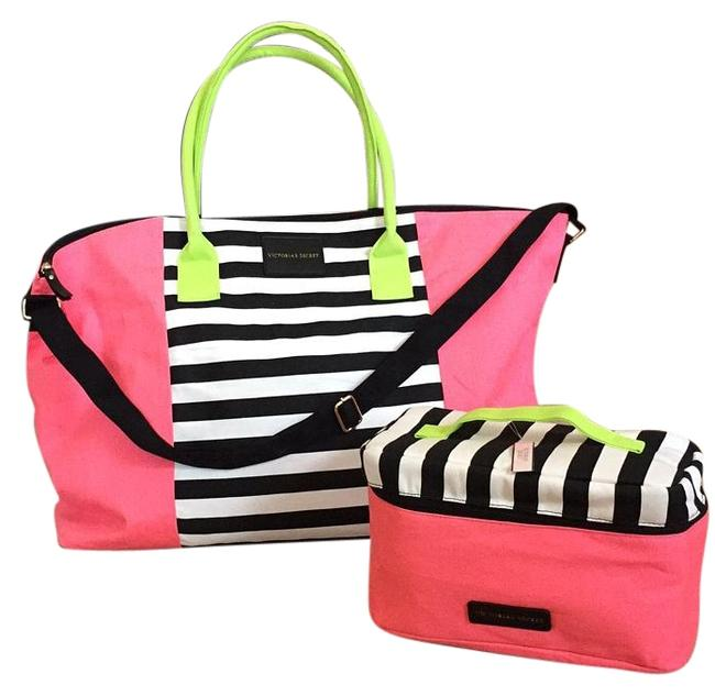 Item - Beight Pink Bright Yellow Black and White Canvas Weekend/Travel Bag