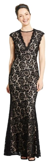Item - Black/Nude Cap-sleeve Lace Illusion Gown Long Formal Dress Size 2 (XS)