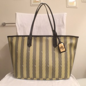 Lauren Ralph Lauren Satchel Travel/weekends New/nwt Tote in Citron (yellow) Black