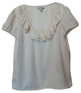Ann Taylor Large Tunic Dot Silky Ruffle Top Off-White