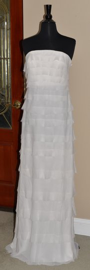 ADAM White Long Tiered Silk Dress Wedding Dress