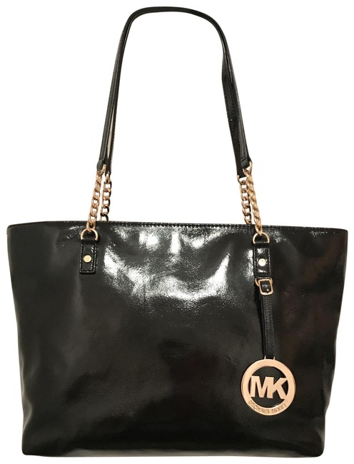 Item - East West Chain Jet Set Black Gold Patent Leather Tote