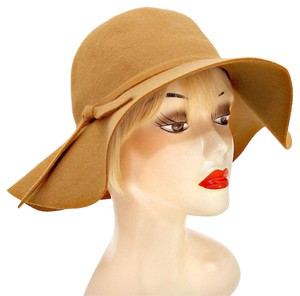 Camel Wool Felt Crushable Wide Brim Fedora Floppy Hat