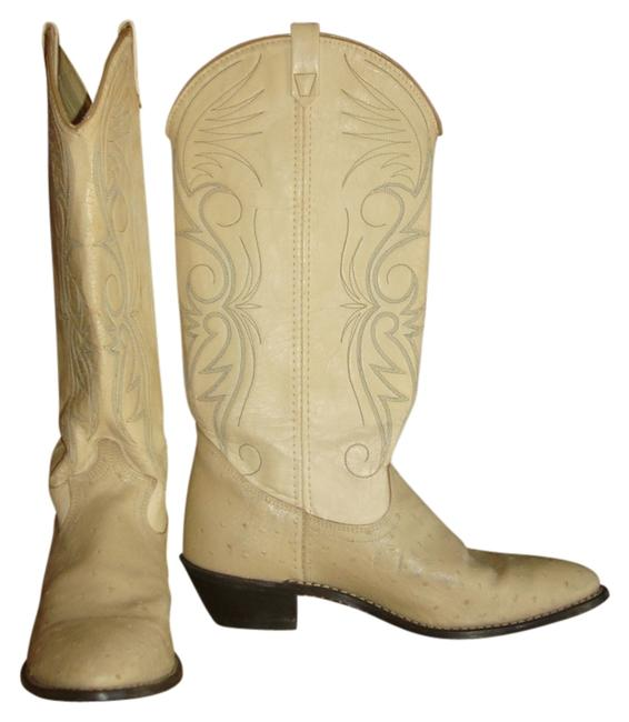Item - Beige Vintage Dingo Ostrich Leather Cowgirl Western Boots~8.5~ Boots/Booties Size US 8.5 Regular (M, B)
