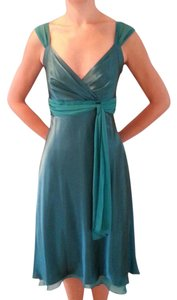David's Bridal Satin Chiffon Tea Length Dress