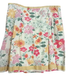 L.L.Bean Floral Pockets Skirt Yellow, multi