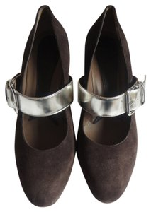 Marni Suede Silver Mary Jane Brown Pumps