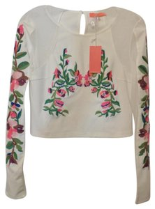 Lulumari Anthropologie Knit Sheer New Top White w/ multi-color embroidery