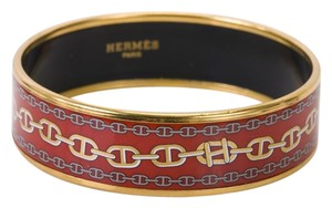 Hermès Authentic Hermes Red Bracelet with Gold