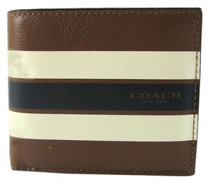 Coach GORGEOUS NWT Coach MEN Leather Compact ID Wallet in Dark Saddle F75399 $180