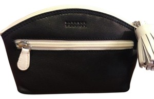 Barneys New York Barneys New York black & white supple leather cosmetic pouch w/tassel