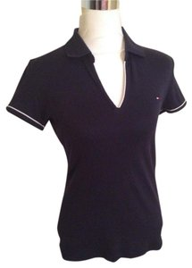 Tommy Hilfiger Short Sleeve Cotton Polo Shirt T Shirt Black