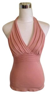 bebe Pin Tuck Ruched pink Halter Top