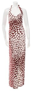 Brown, Cream Maxi Dress by Diane von Furstenberg Maxi Halter Polka Dot