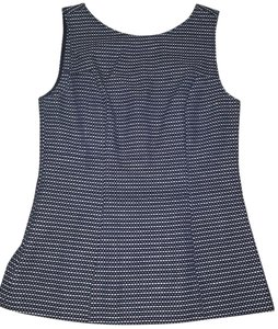 Banana Republic Navy Sleeveless Peplum Mad Men Top Navy/White