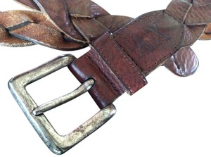 Armani Exchange Armani Exchange Vintage Brown Leather Braided Belt Unisex Accessory