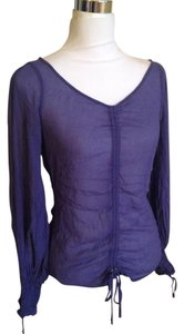 A|X Armani Exchange Peasant Ruched Silk Bishop Sleeves Top Dark Purple