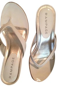 Rampage Patent Leather White and Silver Sandals