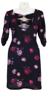 Mimi Chica short dress black, pink Floral Cutout Bow Bodycon on Tradesy