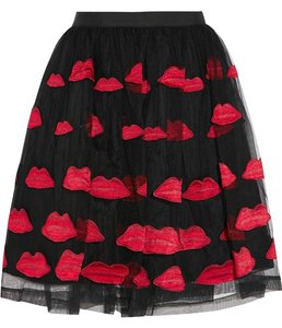 Alice + Olivia Lips Applique Tulle Skirt Red & Black