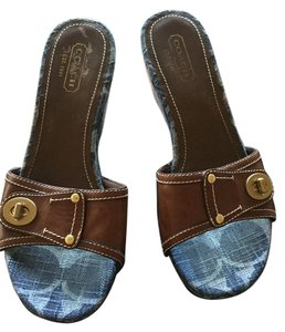 Coach Blue fabric and Brown leather with gold buckle Wedges