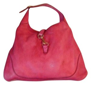 Gucci Supple Pink Leather Xl Jackie O Triangular Jackie Gold Hardware Hobo Bag