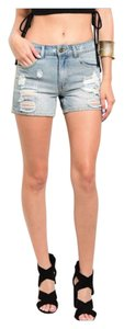 Women Junior Summer Cuttoff Cut Off Shorts Light-Med Wash Denim