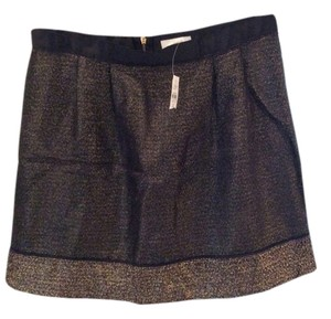 Ann Taylor LOFT Mini Skirt Black & Gold