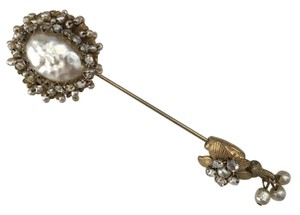 Miriam Haskell Faux pearl stick pin or hat pin