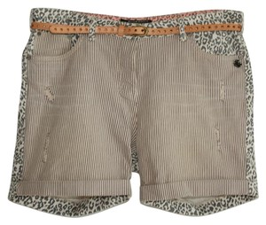 cf9c49d451 Maison Scotch Gray Belted Print Stripe Denim Cuff Shorts Size 10 (M