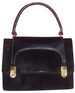 Gucci True 1960's Mod Early Two-tone Hardware Kelly Style Hard & Boxy Shape Satchel in black suede and leather