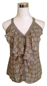 Banana Republic Ruffled Silk Top khaki print