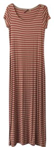Tan with red horizonral stripes Maxi Dress by Elie Tahari