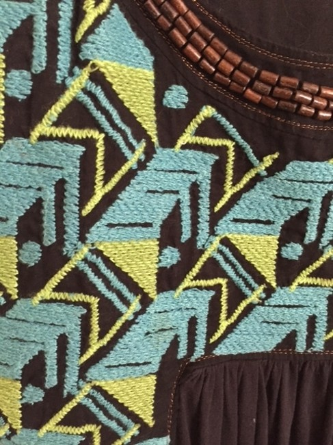 Tiny Tribal Embroidered Knotted Top Black, teal, and green