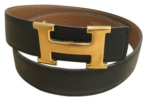 Herms Black and Tan Constance Reversible Belt