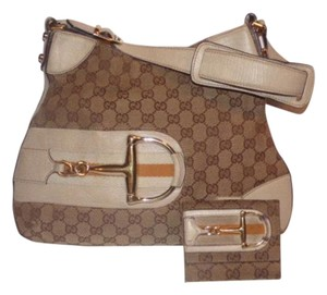 Gucci & Wallet Set Equestrian/horse-bit Bold Gold Tri-fold Wallet Hobo Bag