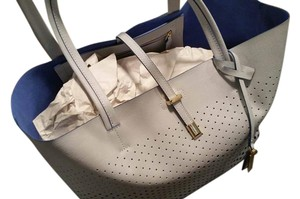 Vince Camuto Suzzi Perforated Tote in Dove Grey with Blue Interior