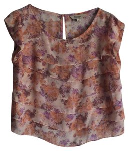 Decree Floral Chiffon Ruffle Top ORANGE PINK PURPLE