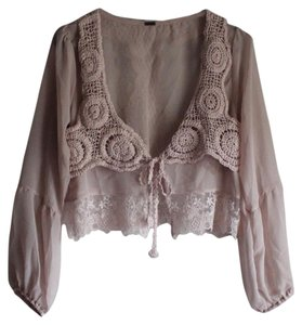 Anthropologie Bell Sleeves Lace Up Chiffon Top Pink