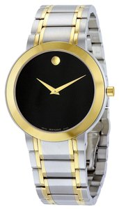 Movado Black Dial Two Tone Silver and Gold Stainles Steel Designer MENS Dress Watch