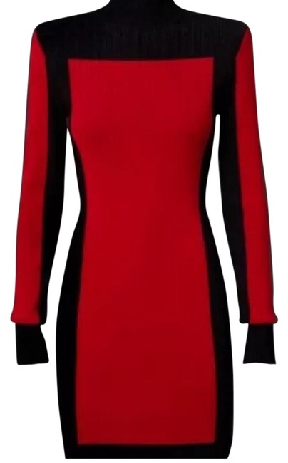 Item - Black / Red Above Knee Night Out Dress Size 4 (S)