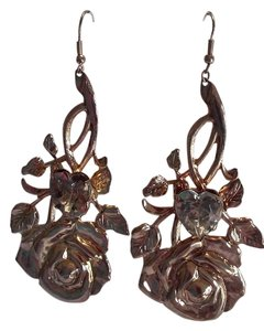 Gold Rose & Clear Grey Heart Large French Hook Dangle Drop Pierced Earrings From Sweden