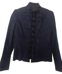 Elie Tahari Leather Miliarty Ruffles Navy Blue Blazer