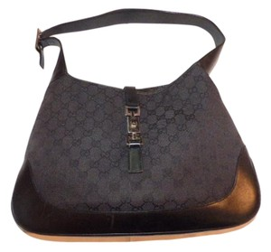 Gucci Monogram Black Large Logo Jackie O Chrome Hardware Like New Condition Shoulder Bag