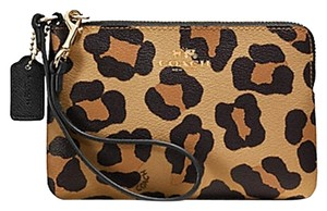 Coach Leopard Cheetah Night Out Phone Leather Wristlet in Yellow