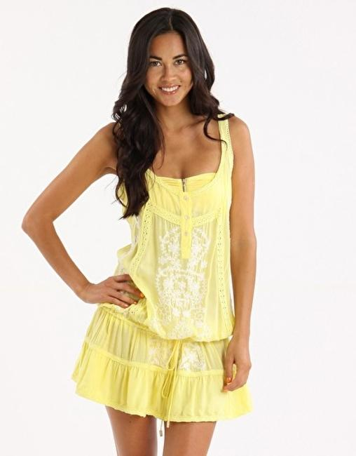 Item - Yellow/White Jaz Cover-up/Sarong Size 4 (S)