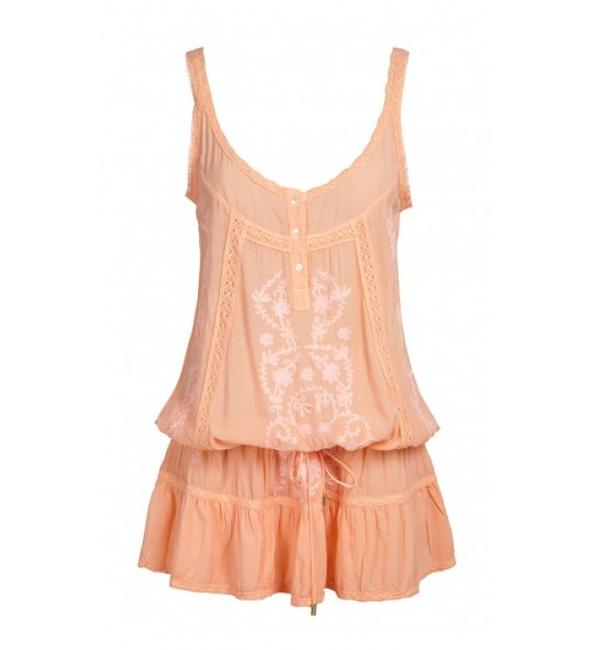 Item - Peach Embroidered Drop Drawstring Mini Dress Cover-up/Sarong Size 4 (S)